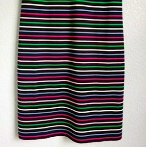 Talbots Dresses - TALBOTS | Cotton Navy Colorful Stripe Shift Dress